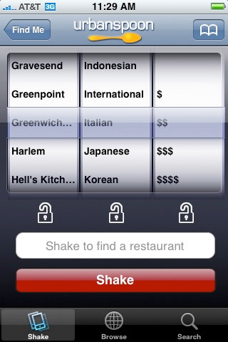 Urbanspoon: Shake It