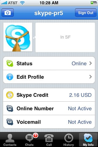 Skype for iPhone/BB