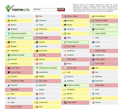Website: Namechk.com