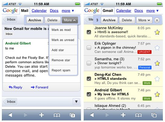 Mobile Gmail/Calendar