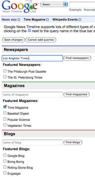 Google News Timeline