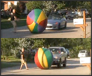 Video: Big Ball vs Cars