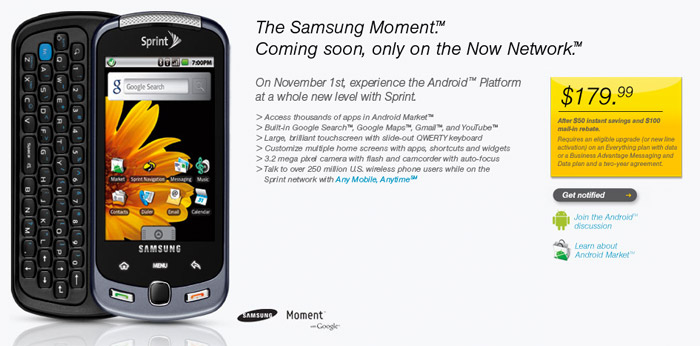 Sprint Samsung Moment