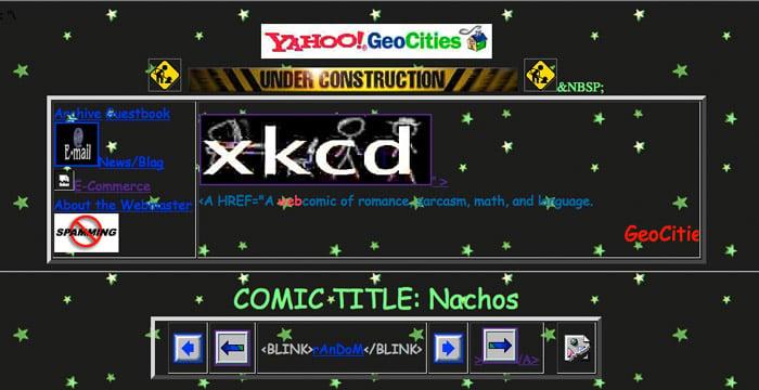 xkcd: Farewell, Geocities