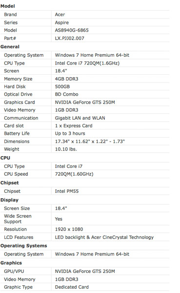 Acer Aspire AS8940G
