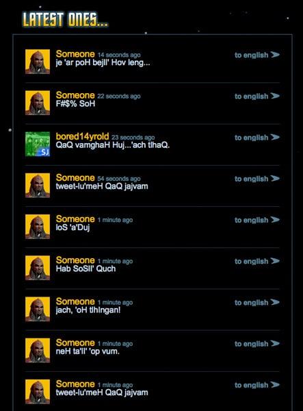 Tweet in Klingon