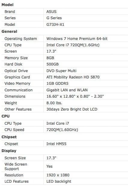 Asus G73JH-X1 Laptop