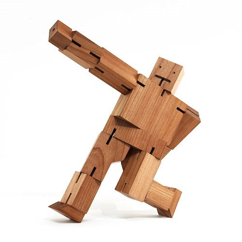 Cherry Wood Cubebot Sculpture