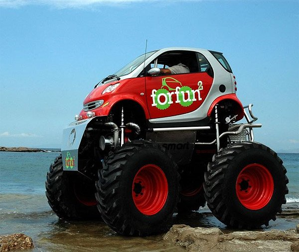 Smart Car  Monster Truck  The Awesomer