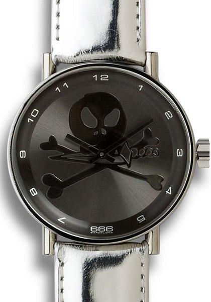 666 Silver Skull Watch