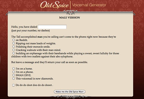 Old Spice Voicemail Generator