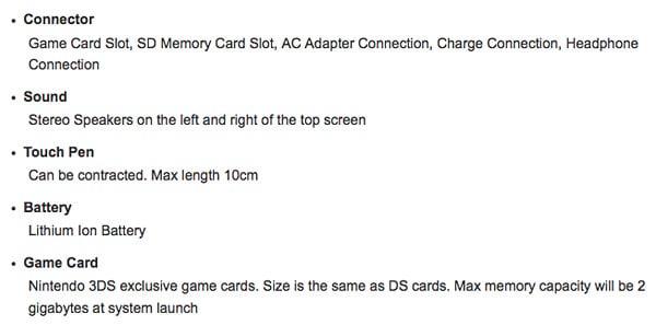 Nintendo 3DS Specs/Launch Date
