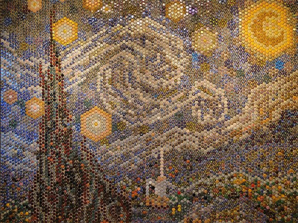 Bottle Cap Starry Night