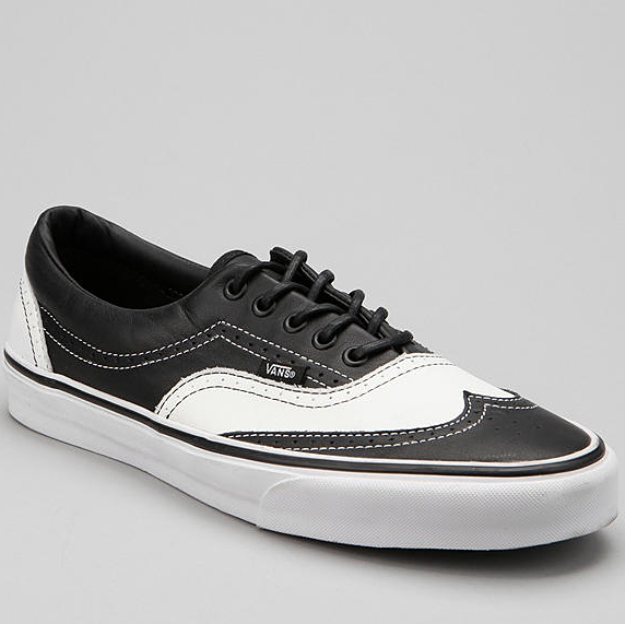 vans era wingtip black & white leather skate shoe