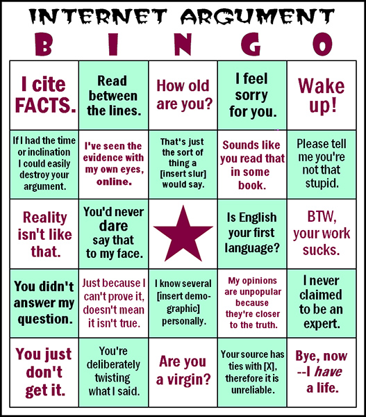 Internet Argument Bingo