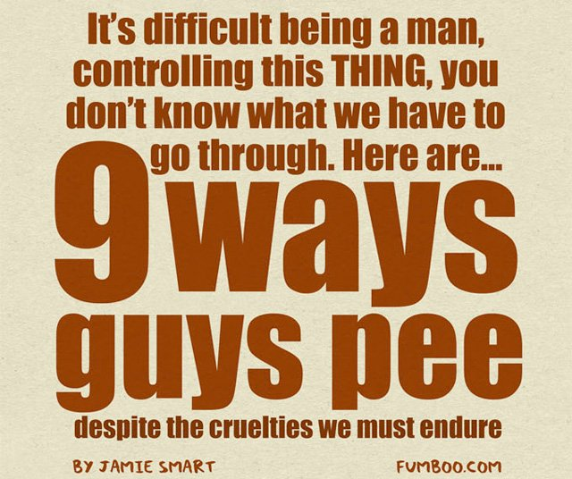 9 Ways Guys Pee