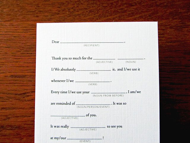 Fill-in Thank You Cards