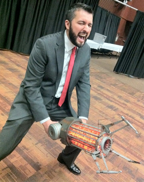 Kris Straub Posing with Gravity Gun
