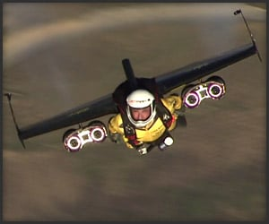 Jetman flying at high velocity over Rio De Janeiro in early May, 2012.