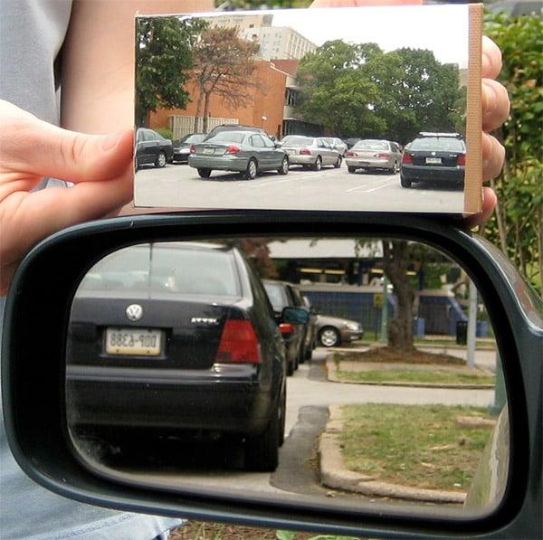 Blind Spot-Free Mirror