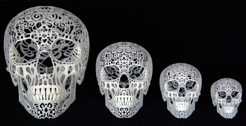 3D Printed Filigree Skulls