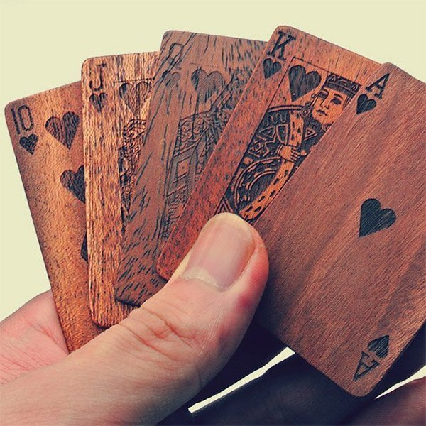 Wooden Playing Cards The Awesomer