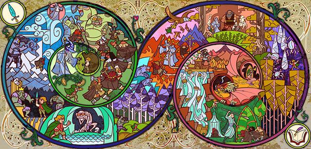 Hobbit Stained Glass Illustration