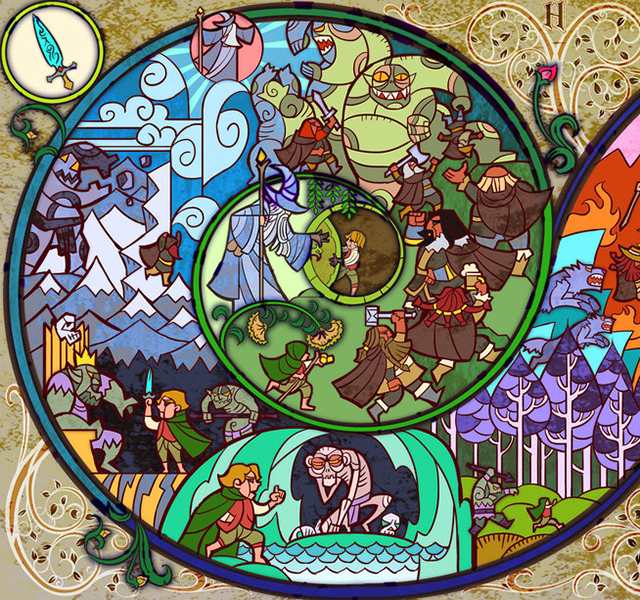 Hobbit Stained Glass Illustration