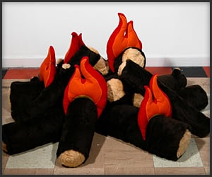 Plush Logs and Fire
