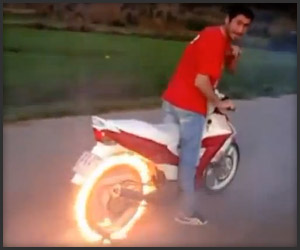 Flaming Motorcycle Burnout