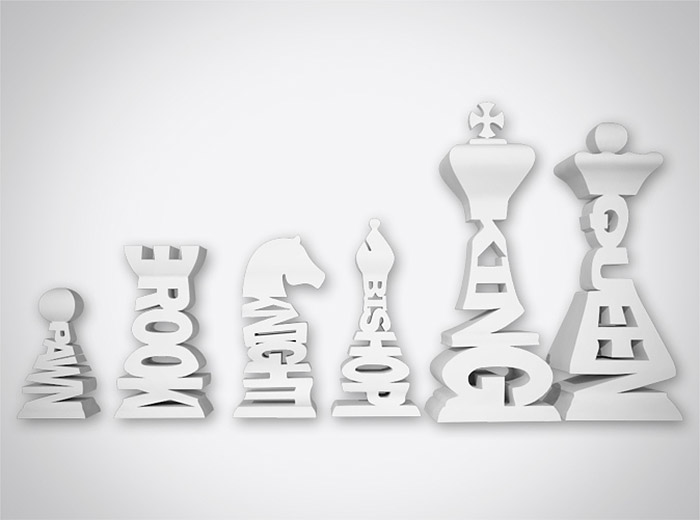 Typographic Word Chess Pieces