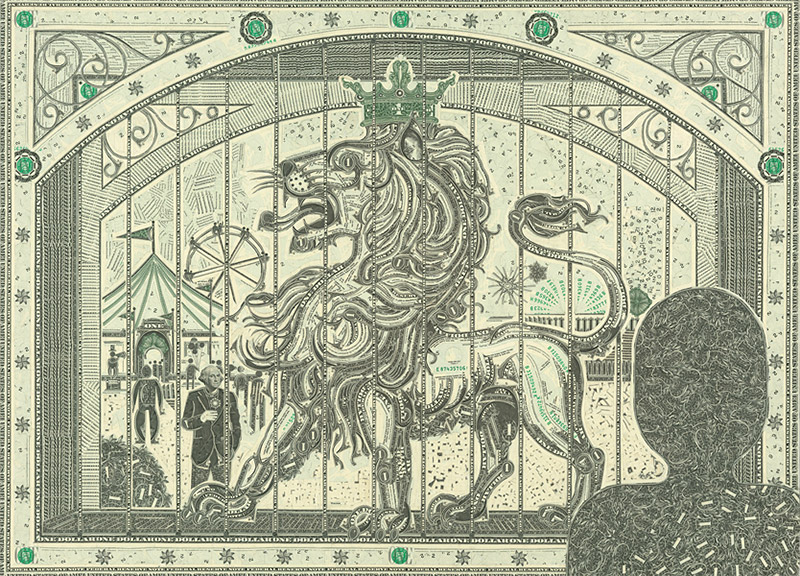 One Dollar Bill Collages