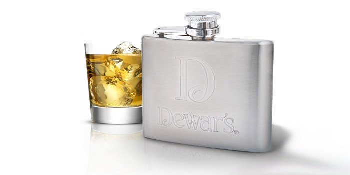 Dewars Stainless Steel Scotch Flask
