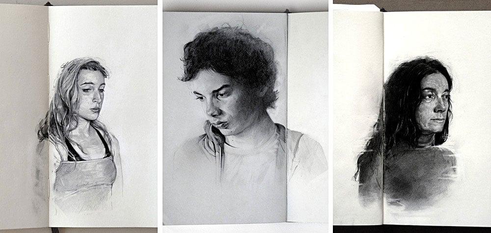 Graphite Portraits of Friends