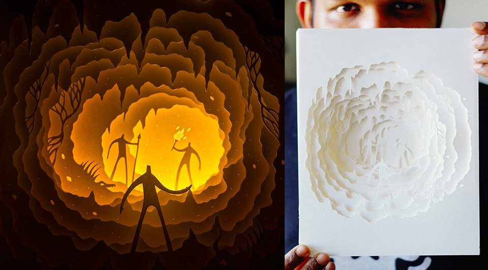 Cut Paper Light Boxes