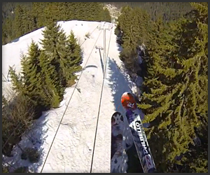 Speed Riding Ski Lift Cable Grind