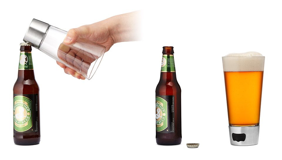 Bottle Opener Pint Glass