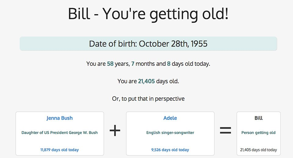 You're Getting Old!