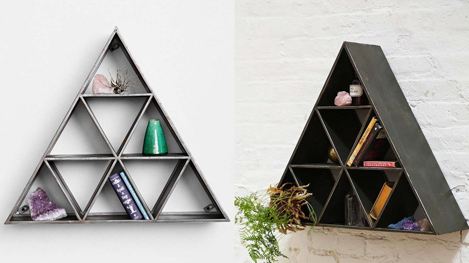 Geo triangle shelf the awesomer - Triangular bookshelf ...