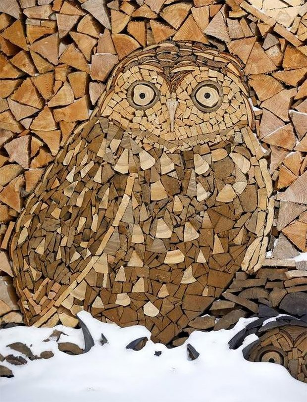 Stacked Firewood Art - The Awesomer