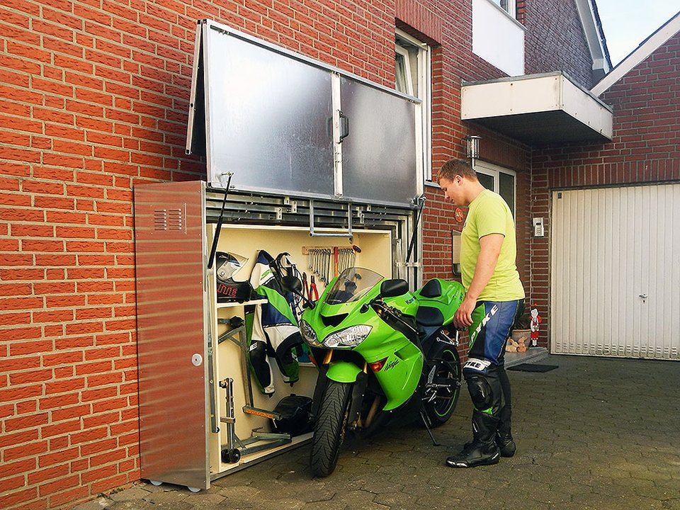 Retractable motorcycle shed for Motorcycle shed