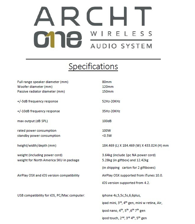 ARCHT One Speaker
