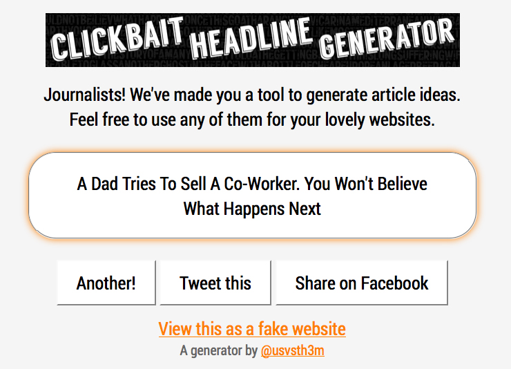 Headline generator for dating site
