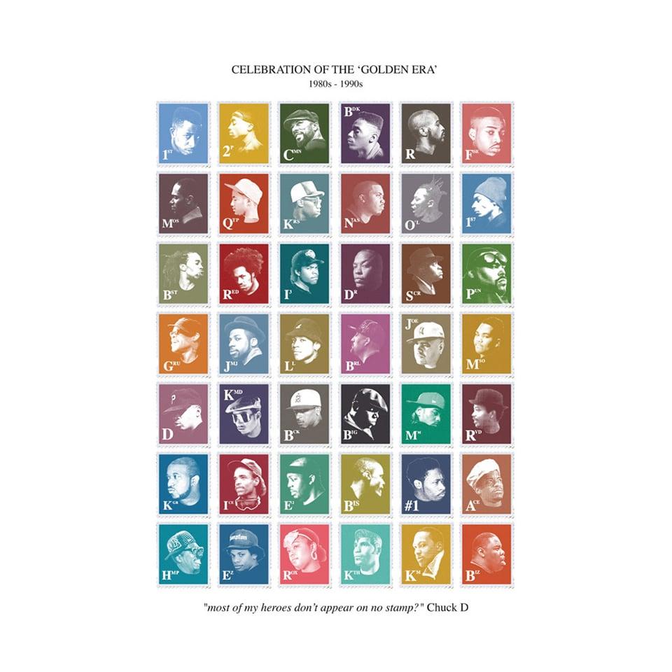 Golden Era Hip-Hop Stamps Poster