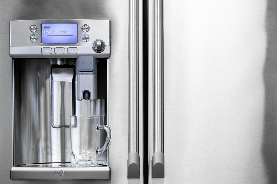 GE Fridge with K-Cup Coffee Brewer