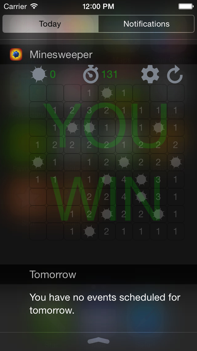 Minesweeper Widget for iOS 8