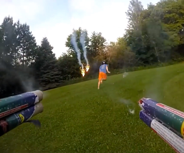 Quadcopter Armed with Fireworks