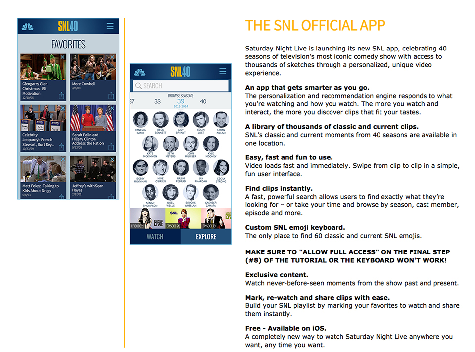Saturday Night Live iOS App