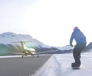 Snowboarding Behind an Airplane