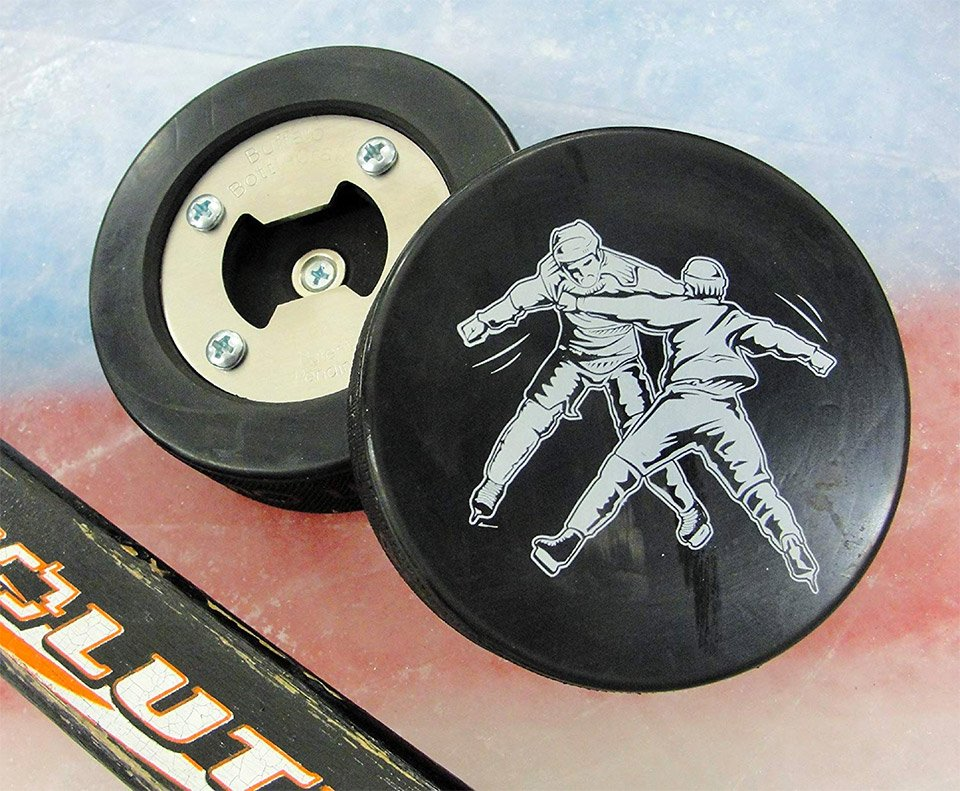 Hockey Fight Puck Bottle Opener